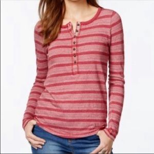 Lucky Brand Thermal Henley Striped Winter Sweater